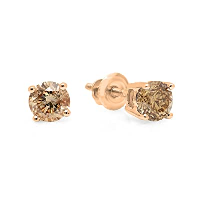 3d4363b451c19 Dazzlingrock Collection 14K Gold Round Champagne Diamond Ladies Stud  Earrings