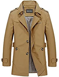 Men Single Breasted Trench Coat Lightweight Slim Fit Notch Lapel Cotton Jacket
