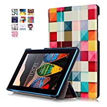 "Tablet Lenovo Tab3 7inch Case Leather,Lenovo 7 inch Tablet Cover,Tablet 7.0""Lenovo Tab3 7 Leather Case,Stand Folio Cover Slim Folding Case for Lenovo Tab3 7-inch Protector-Colorful cube"