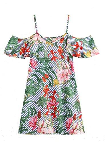 - Milumia Women's Random Jungle Print Striped Cold Shoulder Dress Multicolored Large