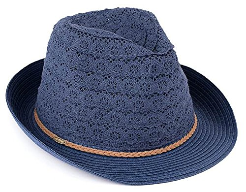 - H-6040-31 Crushable Packable Summer Sun Hat Eyelet Lace Fabric Fedora - Navy