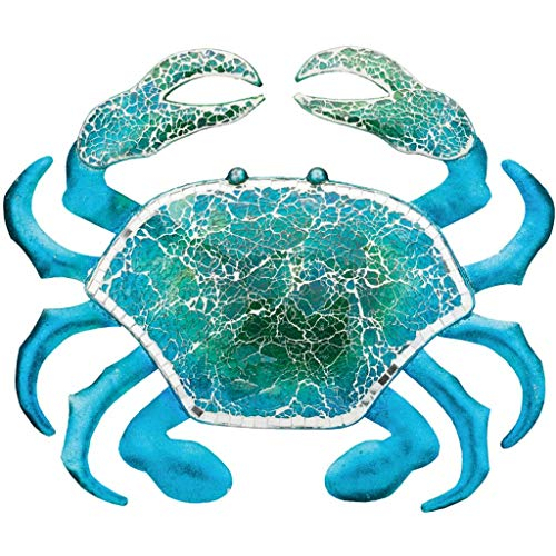 Regal Art & Gift 18.25 Inches X 1 Inches X 15.5 Inches Metal/Glass Wall Decor Crab - Blue (Metal Crab)