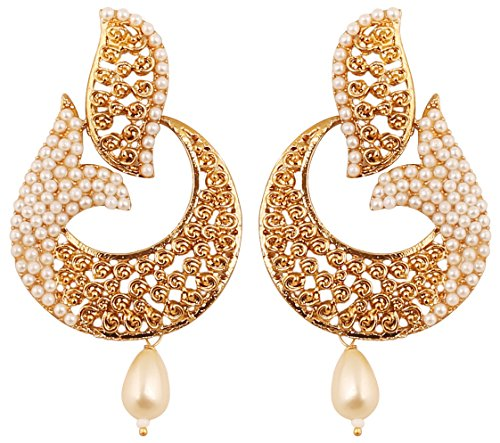Touchstone Indian Bollywood Curved Fish Motif Faux Pearls Designer Jewelry Chandelier Earrings For Women in Antique Gold Tone.