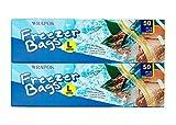 WRAPOK Food Storage Bag Freezer Bags Gallon 2 in 1 Zipper Bag Food Saver Poly Bag BPA Free 100 Count