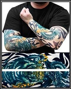Tattoo sleeves tiger vs dragon temporary for Tattoo sleeves amazon