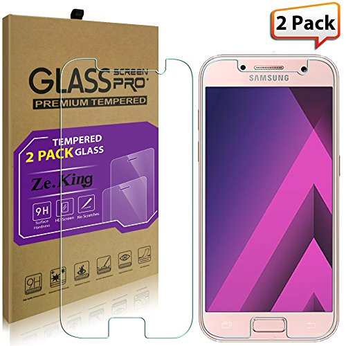 [2-Pack]Galaxy A3(2017) Tempered Glass Screen Protector, ZeKing 0.33mm 2.5D Edge 9H Hardness [Anti Scratch][Anti-Fingerprint] Bubble Free, Lifetime Replacement Warranty