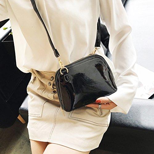 OULII Damen Shell Umhängetasche Crossbody Bag PU-Leder Handtasche Clutch (Schwarz) EEbA5