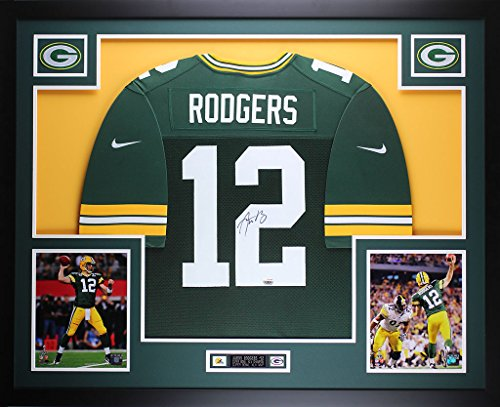 Aaron Rodgers Autographed Green Nike Packers Jersey - Beautifully Matted and Framed - Hand Signed By Aaron Rodgers and Certified Authentic by Auto Fanatics COA - Includes Certificate of Authenticity ()