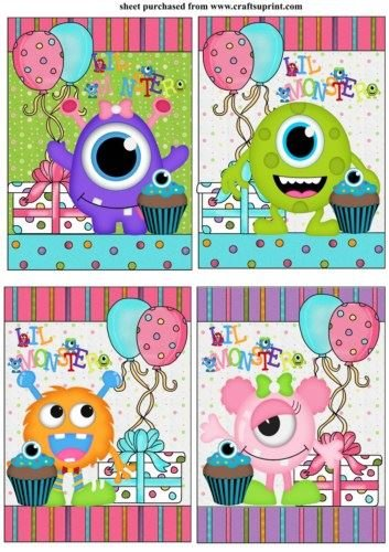 4 Little monster cumpleaños adornos por Sharon Poore: Amazon ...