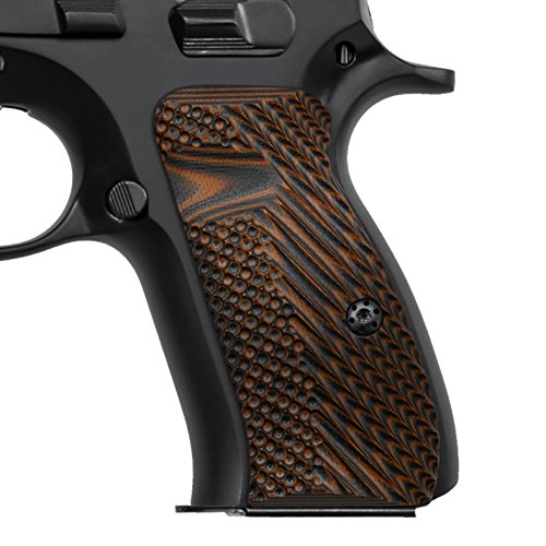 - Cool Hand G10 Grips for CZ 75 85 Compact, Palm Swell Back Style, Mag Release, OPS Texture,Orange/Black, H6C-G-28