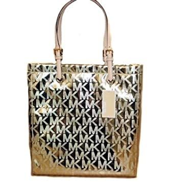 b3da27fbeb Amazon.com   Michael Kors Jet Set Item MK Signature Mirror Metallic Item  North South Tote 38T1CTTT3Z (Pale Gold)   Beauty