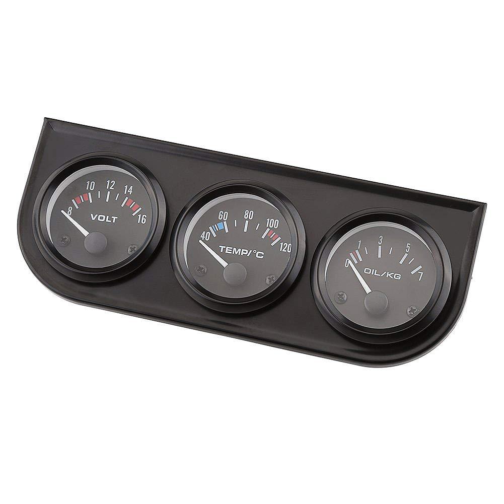 Sensore Calibro Auto 52 Mm Misuratore Voltmetro + Indicatore Temperatura Acqua + Indicatore Pressione Olio Cikuso Misuratore Triplo Calibro 52Mm 3 in 1
