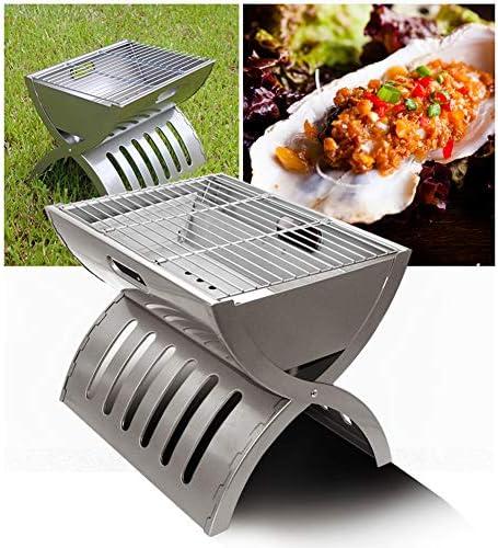 Portable BBQ pour Le Camping, L'outil Barbecue Pliable en Acier Inoxydable, Accessoires pour BBQ Camping Pique-Nique Garden Party