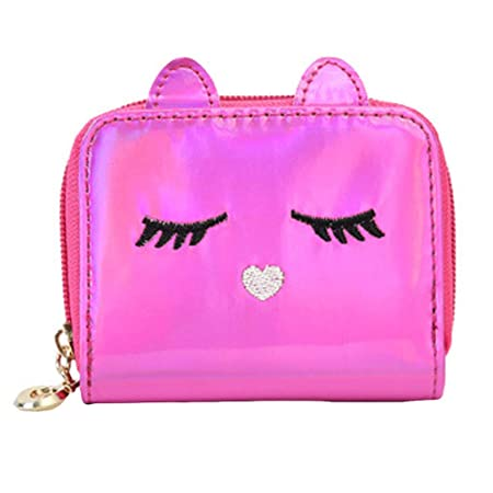 Amazon.com: Fashion Women Cat Leather Zipper Handbag Clutch ...