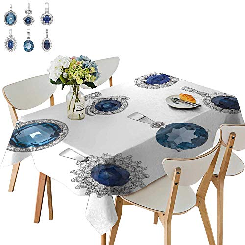 UHOO2018 Square/Rectangle Indoor and Outdoor Tablecloth Pend ts Sapphire Isolate on White backgroun Fashion Jewelry Restaurant Party,50 x 79inch (Outdoor Pend)