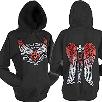 7f7571e426 Women's Comfy Angel Wing Graphic Pullover Hoodie~ Black (S, Black ...
