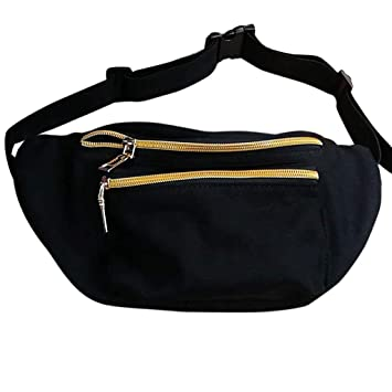 2039c3e5cd2 Amazon.com   Cute Fanny Pack from Who s Your Fanny - Flamingo, Cactus,  Gray, USA 3 Pocket Waist Pack Bum Bag (Multiple Sizes) (Black and Gold)   Waist  Packs