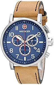 Wenger Men's 01.1243.101 Commando Stainless Steel Watch with Brown Leather Band