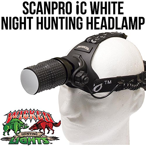 Wicked Lights ScanPro IC Night Hunting Headlamp with WHITE Intensity Control LED for coyote, predator, and hog hunting by Wicked Lights