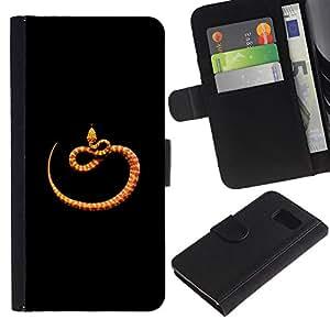 LASTONE PHONE CASE / Lujo Billetera de Cuero Caso del tirón Titular de la tarjeta Flip Carcasa Funda para Samsung Galaxy S6 SM-G920 / orange black minimalist snake nature