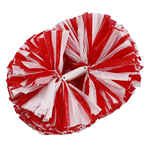 [2PCS Cheering Squad Cheerleading Pom Poms for Alive Invigorating Sports Party by NNBX (Red+white)] (Cheering Squad Costume)