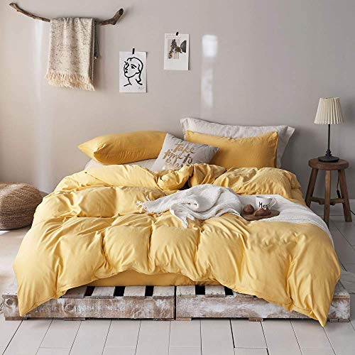 mixinni 3 Pieces Modern Style Duvet Cover Set Solid Color Gold Bedding Cover Set with Zipper Ties for Men and Women (1 Duvet Cover + 2 Pillow Shams),Easy Care,Soft,Durable (Gold,Queen/Full Size) (Bedding Set Gold)