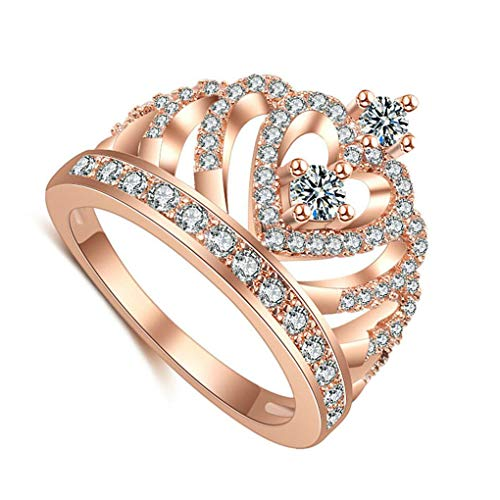 - Delicated Rose Golod Women Rhinestone Hollow out Ring Girl Zircon Platinum Plating Wedding Prom Evening Party Rings Beaums