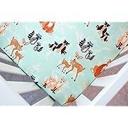 Crib Sheet in Oh Hello Meadow (Mint Woodland Animal) (Guava Lotus Travel Crib Sheet)