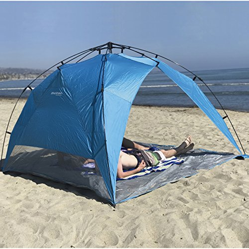EasyGo Shelter XL - Instant Beach Umbrella Tent Pop Up Canopy Sun Sport Shelter with PVC Floor - 8...