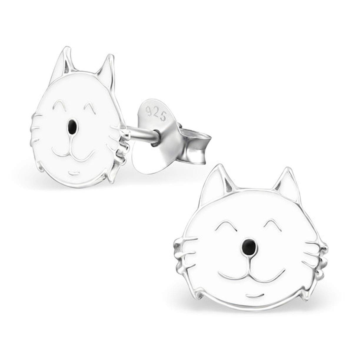 925 Sterling Silver, Cat Earrings Children Earrings White Ear Studs E13006