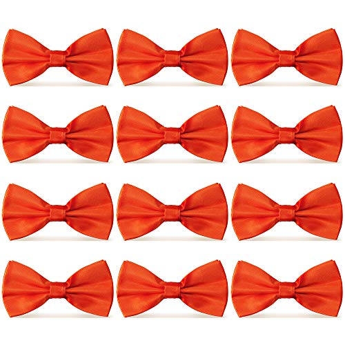(AVANTMEN Men's Bowties Formal Satin Solid - 12 Pack Bow Ties Pre-tied Adjustable Ties for Men Many Colors Option)