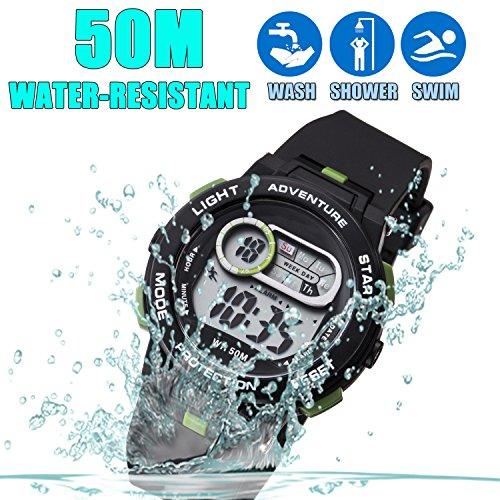 Kid Watch For Boy Girl LED Multi Function Fashion Sport Outdoor Digital Wristwatch Dress Waterproof Alarm Black Green by AXSPT (Image #2)