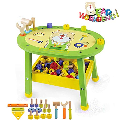 (Beebeerun Kids Workbench Wooden Bear Master Workshop| Award Winning Kid's Wooden Tool Bench Toy Pretend Play Creative Building Set, Solid Wood Toy Workbench Includes Tool Building)