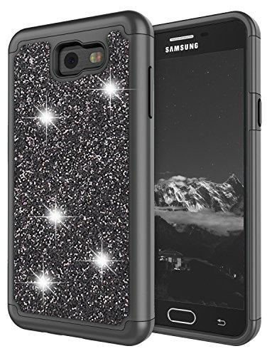 (Galaxy J7 2017 / J7 V /J7 Perx / J7 Prime / J7 Sky Pro/Galaxy Halo Bling Case for Girls, Jeylly Glitter Luxury Crystal Dual Layer Shockproof Hard PC Soft TPU Inner Protector Case Cover - Black)