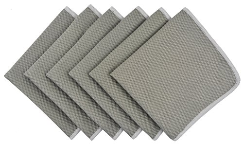 KinHwa Microfiber Cleaning Cloth Lint Free Rags Ultra Absorbent Kitchen Rags Reusable Glass Polishing Cloths for Glassware Car Windows Screens Mirror etc 12inchx12inch 6 Pack Grey