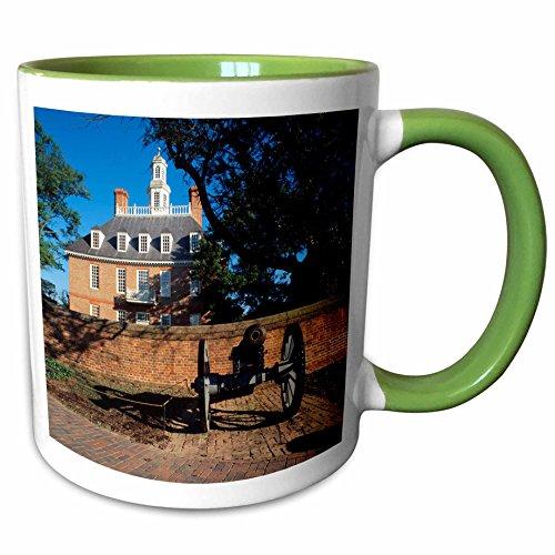 3dRose Danita Delimont - Palaces - Governors palace, Williamsburg, Virginia, USA - US47 WBI0003 - Walter Bibikow - 11oz Two-Tone Green Mug - Virginia Outlets Williamsburg