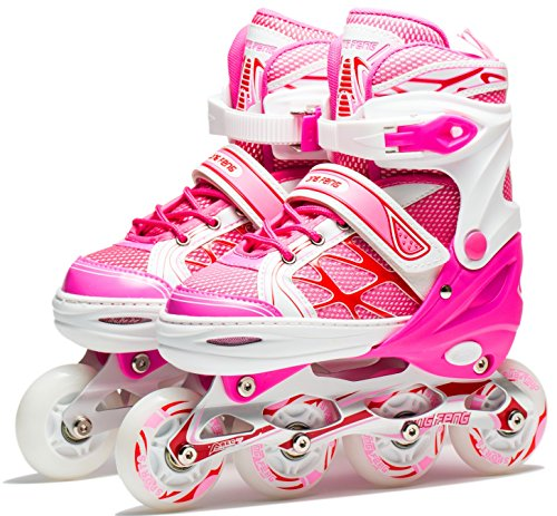 Coolkuskates Adjustable Pink Inline Skates with Illuminating Wheels for Girls (s)