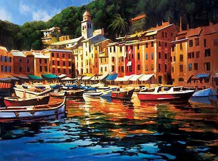 41W x 30H Portofino Colors by Michael O'Toole - Stretched Canvas w/ BRUSHSTROKES (Portofino Media)