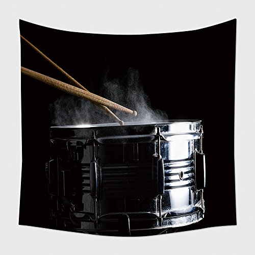 Home Decor Tapestry Wall Hanging Drum Sticks Hit On The Snare Drum In Black Background Close Up Low Key 529602367 for Bedroom Living Room (Halloween Makeover London)