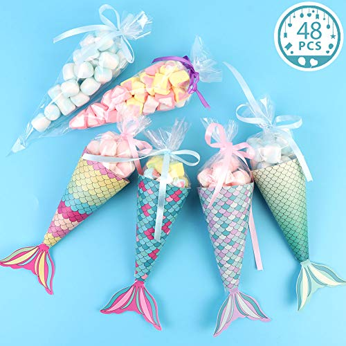 OurWarm 48Pcs Mermaid Party Boxes Favors Mermaid Party Treat Bags with Shell Stickers for Kids Birthday Baby Shower Decorations Mermaid Party Supplies