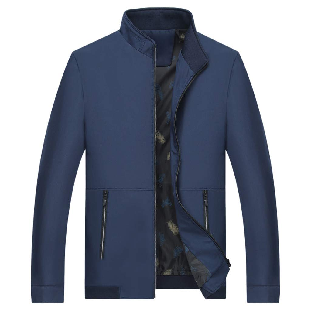 Stylish Men's Autumn Winter Style Windproof Individual Jacket Tops Blouse Athletic Garments Casual Clothes Blue