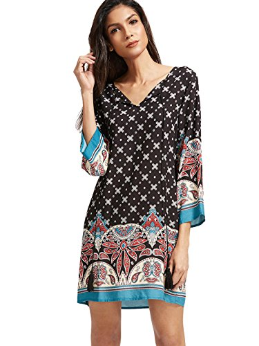 Boho-Chic Vacation & Fall Looks - Standard & Plus Size Styless - ROMWE Women's Boho Bohemian Tribal Print Summer Beach Dress Black XL