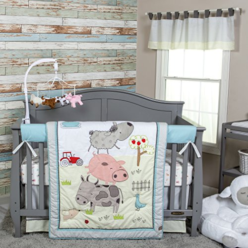 Trend Lab Farm Stack 4 Piece Crib Bedding Set, Multi - Farm Animal Crib Sets
