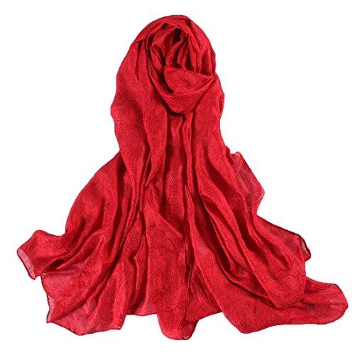 Unique Super Doux Lisse Soie Rouge Echarpe Châle Foulard Etole Chèche Pashmina Paréos Cache-maillots sarongs Robe De Plage Femme Brillant