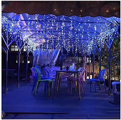 IP44 Impermeable Cortina de Luces LED con Enchufe 5x0.8m 216 LED, Luz Decorativa, Impermeable para a Interior y Exterior, Cadena Luces para Fiestas, Bodas, Jardin, Navidad, Aniversario Azul: Amazon.es: Iluminación