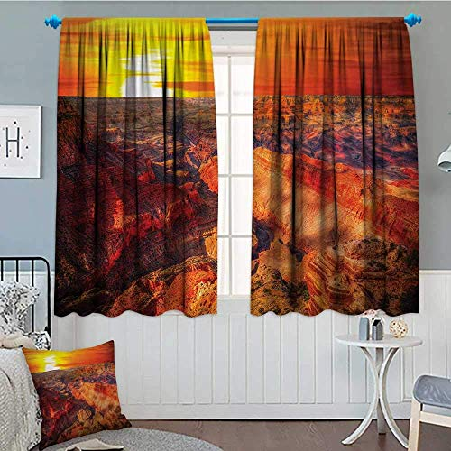 GOCHAN Canyon Blackout Window Curtain Horizon Overview Unique Grand Canyon Photo Saturated with Warm Color Effects Sunset Customized Curtains 55