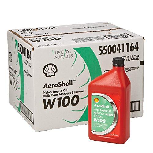 AeroShell Oil W100 SAE Grade 50 Ashless Dispersant Aircraft Oil - 12 Quart/Case