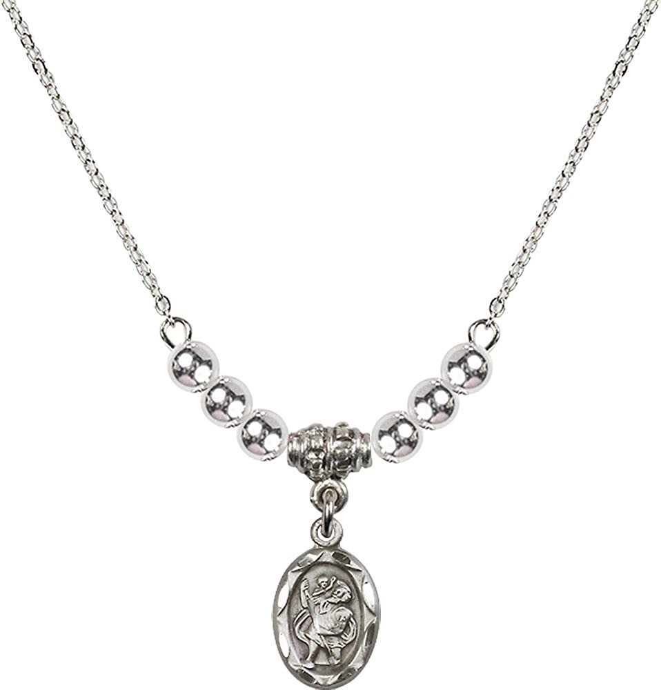 18-Inch Rhodium Plated Necklace with 4mm Sterling Silver Beads and Sterling Silver Saint Christopher Charm.