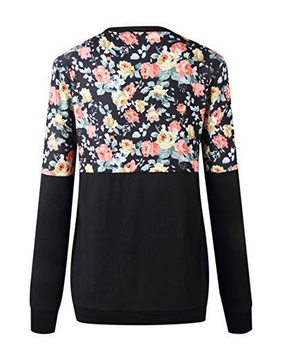 pissure Imprime Shirts Col Chemises Pulls Longues et Printemps Casual Femmes Blouse Tops T Sweat Pullover Fashion Automne Noir Rond Shirts Hauts Manches Jumpers x7qTX1Yq