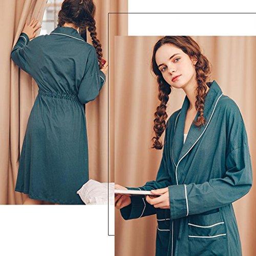 Sleep lunghe Ladies ZLR Nuova cotone Skirt Pigiama scuro Home Accappatoi puro sezione Verde Clothes maniche z8YZyaq